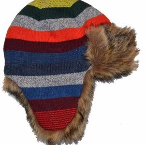 Baby Gap Striped Winter Hat with Faux Fur